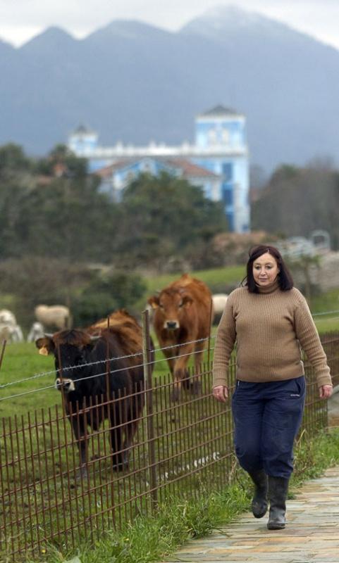 María Ángeles Borbolla, ganadera, en la senda de acceso a Colombres por el Camino de Santiago, con algunas de sus vacas a la izquierda y la Quinta Guadalupe, sede del Archivo de Indianos, al fondo.